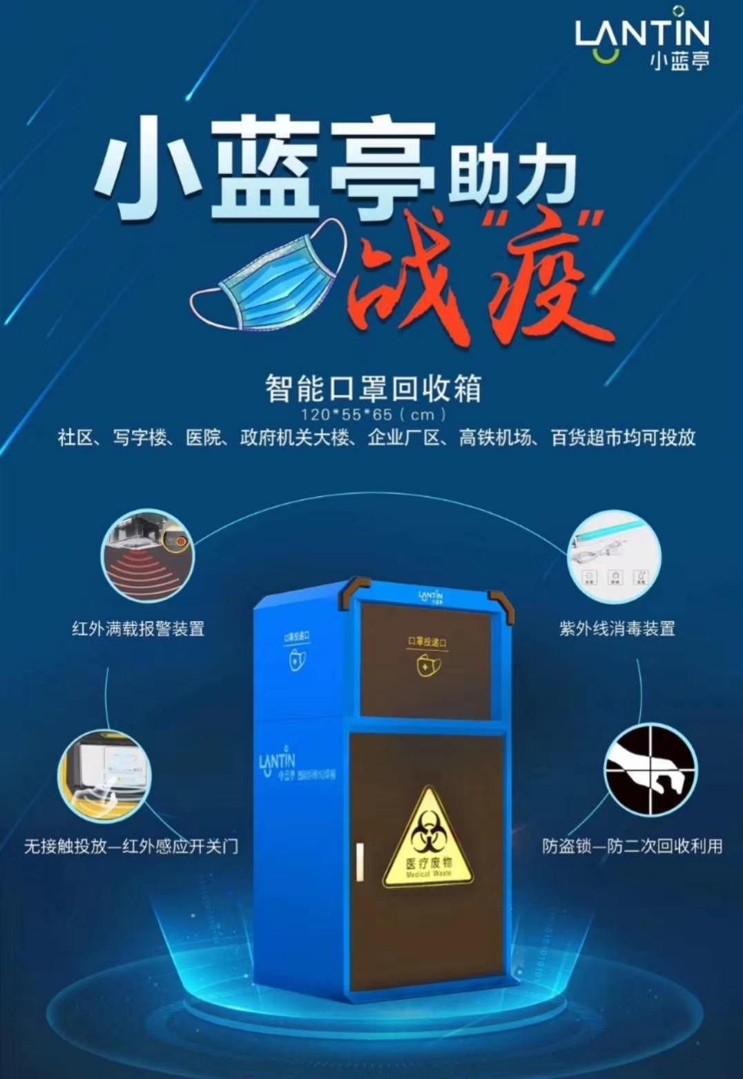 中车交通/湖北long8手机pt客户端-小蓝亭智能口罩回收箱助力疫情防控!